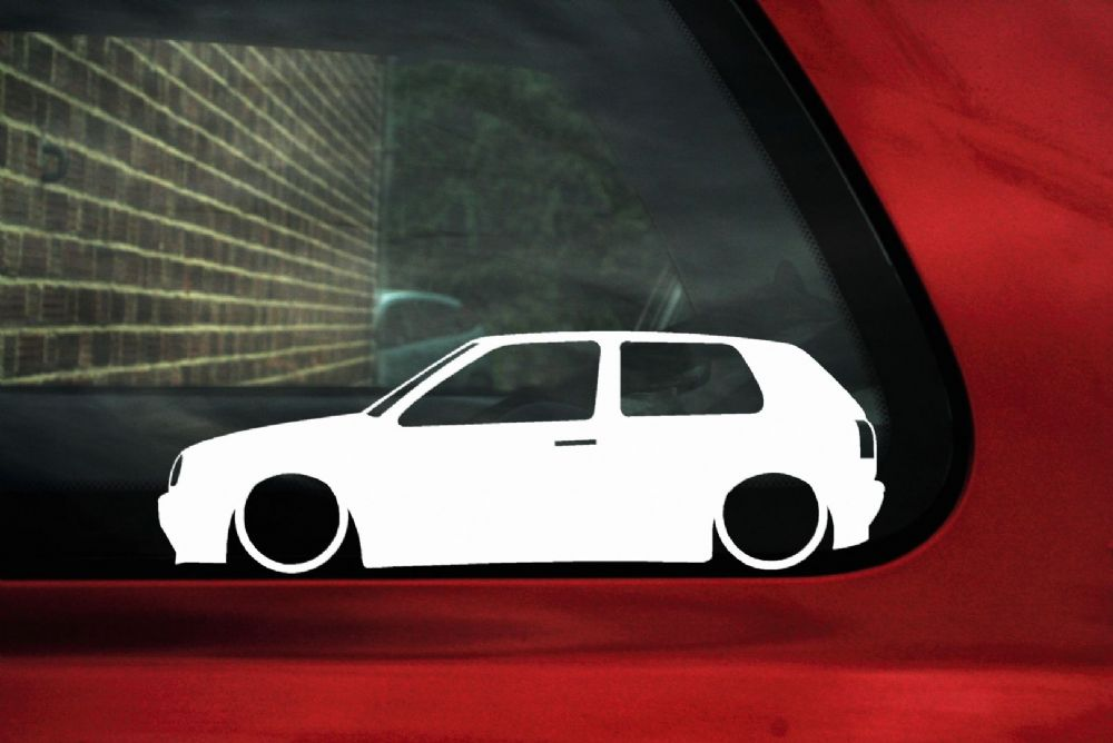 2x LOW VW Golf Mk3 Gti 16v VR6 TDi outline Silhouette stickers Decals.